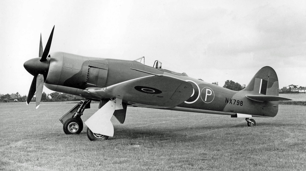 Hawker Fury prototype with Centaurus XII and four-bladed prop. Hawker Ref FG6